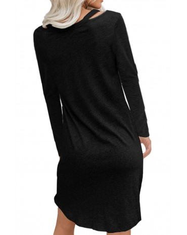 Black Clear Skies Jersey Twist T-shirt Dress