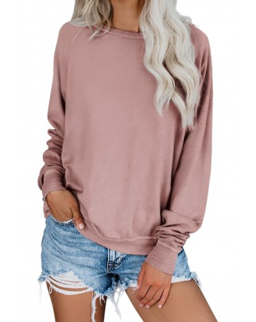 Pink French Terry Cotton Blend Pullover Sweatshirt