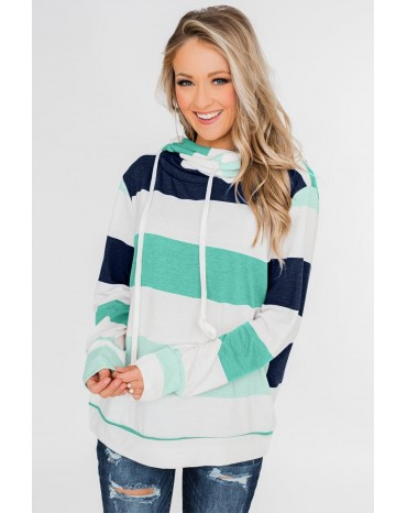 Green Knocking Overlap Hoodie
