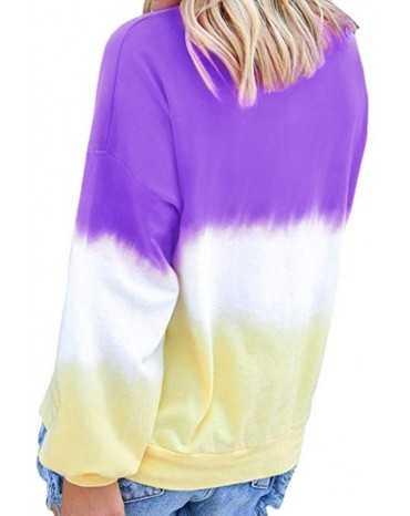 Modena Color Block Tie Dye Pullover Sweatshirt