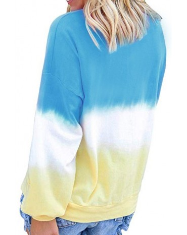 Blue Color Block Tie Dye Pullover Sweatshirt