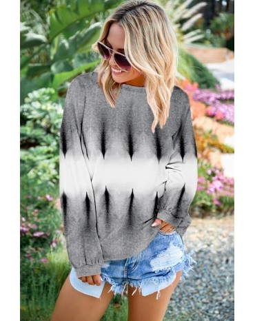 Light Gray Color Block Tie Dye Pullover Sweatshirt