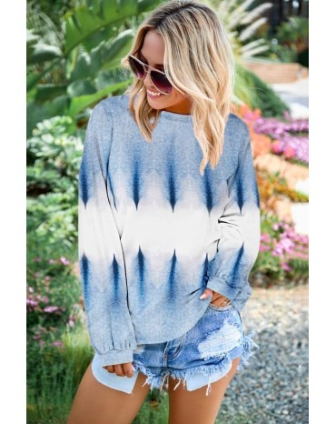 Sky Blue Color Block Tie Dye Pullover Sweatshirt