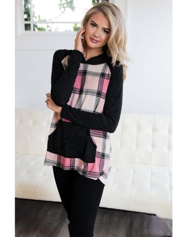 Pink Plaid Pullover Hoodie