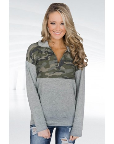 Camo Splice Gray Kangaroo Pocket Zip Collar Sweatshirt